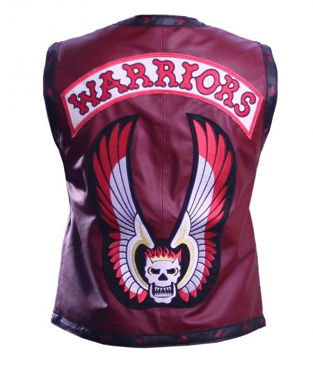 Men The Warriors Movie Maroon Eagle Biker Faux Leather Vest
