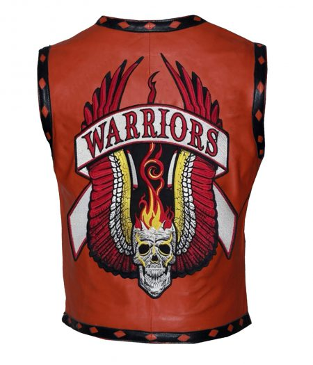 Men The Warriors Movie Orange Biker Faux Leather Vest