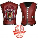Men The Warriors Movie Red Biker Faux Leather Vest