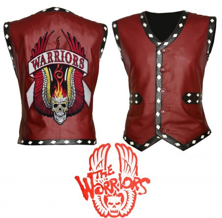 Men The Warriors Movie Red Biker Faux Leather Vest