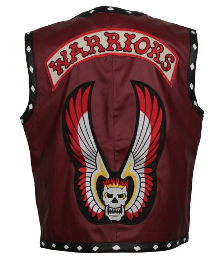 Men The Warriors Movie Red Faux Leather Vest Costume