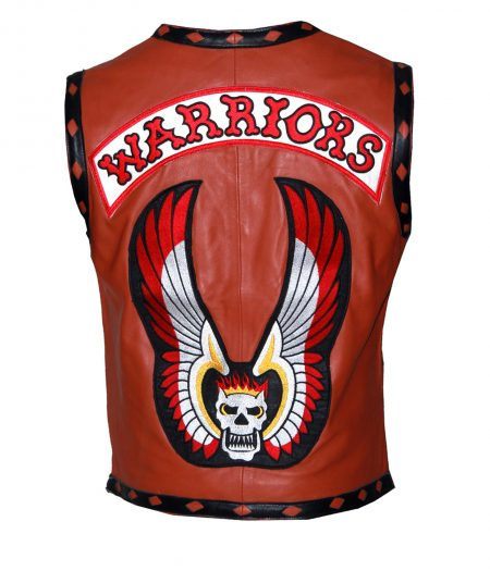 Men The Warriors Movie Tan Skull Biker Faux Leather Vest