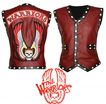 Men The Warriors Movie Tan White Biker Faux Leather Vest