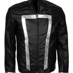 Mens Agent Of Shield Ghost Rider Black Biker Faux Leather Jacket