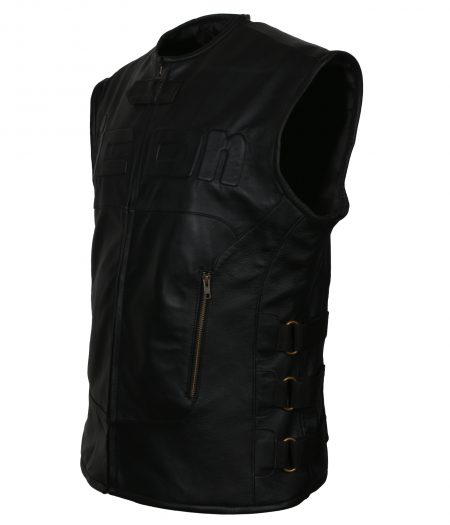 Mens Icon Skull Black  Leather Regulator Motorcycle  Racing Riding D30 Black Club  Faux Leather Vest Costume