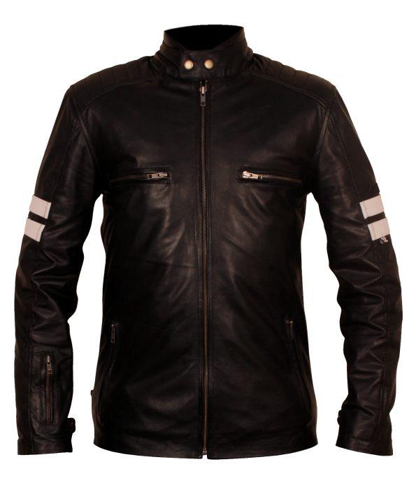 Mens Mayhem Driver San Francisco Striped Designer Motorcycle Black Faux Leather Jacket