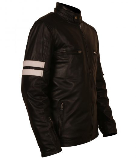 Mens Mayhem Driver San Francisco Striped Designer Motorcycle Black Faux Leather Jacket