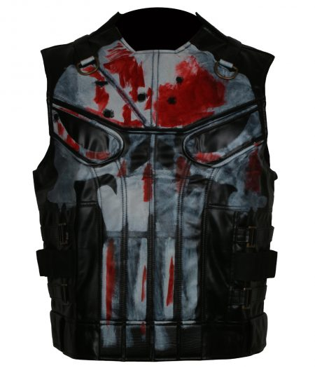 Mens Punisher Season 2 Jon Berthnal Tactical Skull Black Biker Faux Leather Vest Costume