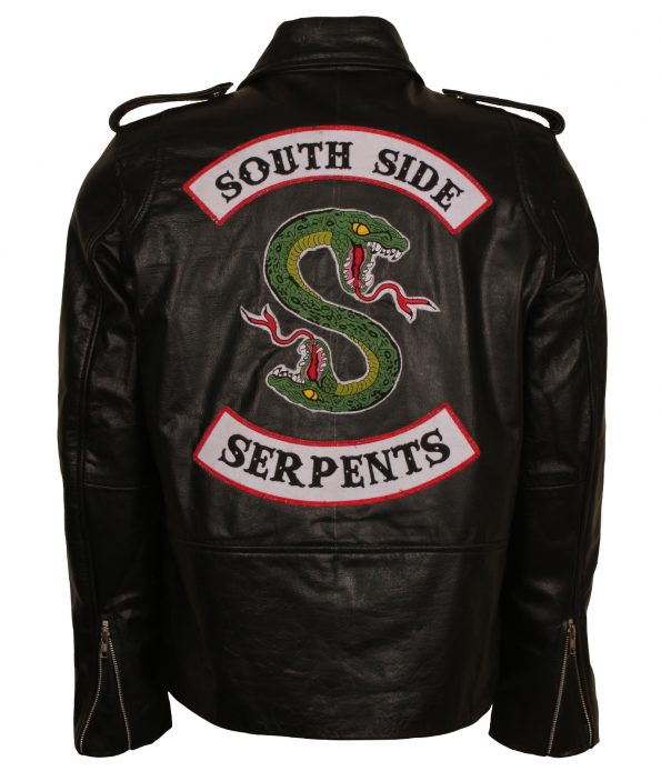 Mens Riverdale South side Serpents Embroidered Black Biker Faux Leather Motorcycle Jacket