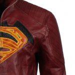 Mens Superman Maroon SuperHero Faux Leather Jacket