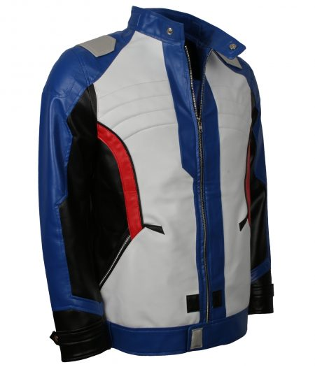 OverWatch Soldier 76 Men Multicolor Faux White Leather Jacket Cosplay Costume