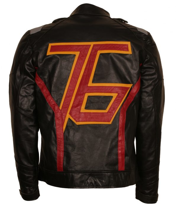 Overwatch Soldier 76 Mens Black Designer Faux Leather Motorcycle Jacket Costume