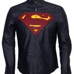 Superman Man Of Steel Midnight Blue Faux Leather Jacket Costume Cosplay