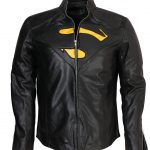 Superman Man Of Steel Yellow Cosplay Black Faux Leather Jacket Costume