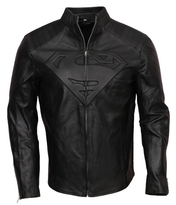 Superman Smallville Men Cosplay Black Faux Leather Jacket Costume