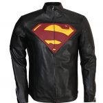 Superman Smallville Yellow Red Faux Black Leather Jacket cosplay costume