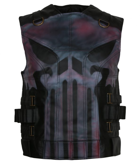 The Punisher Season 2 Jon Bernthal Black Biker Faux Leather Vest