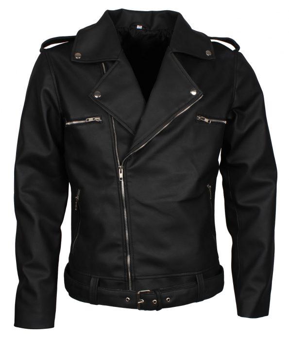The Walking Dead Seasons Negan Boda Biker Black Faux Leather Jacket