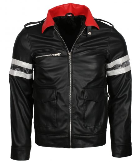 Alex Merca Prototype Stripe Black Gaming Leather Jacket