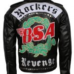 BSA George Micheal Revenge Rockers Embroidered Black Biker Leather Jacket Costume halloween