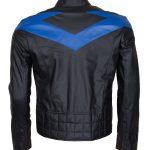 Batman Nightwing Dick Grayson Men Blue Black Leather Jacket