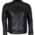 Black Padded Cafe Racer Biker Leather Jacket