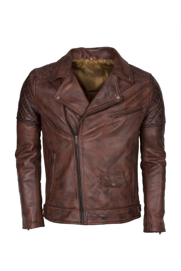 Brando Men Brown Waxed Motorcyle Leather Jacket