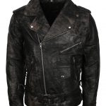 Brando Men Classic Black Distressed Leather Biker Jacket