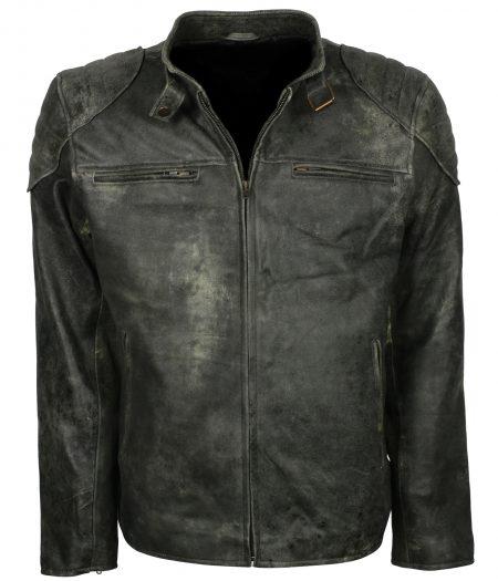 Men's Brando Distressed Gray Biker Jacket