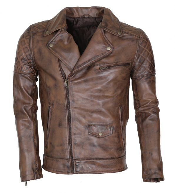 Brando Men Classic Motorcyle Brown Waxed Leather Jacket