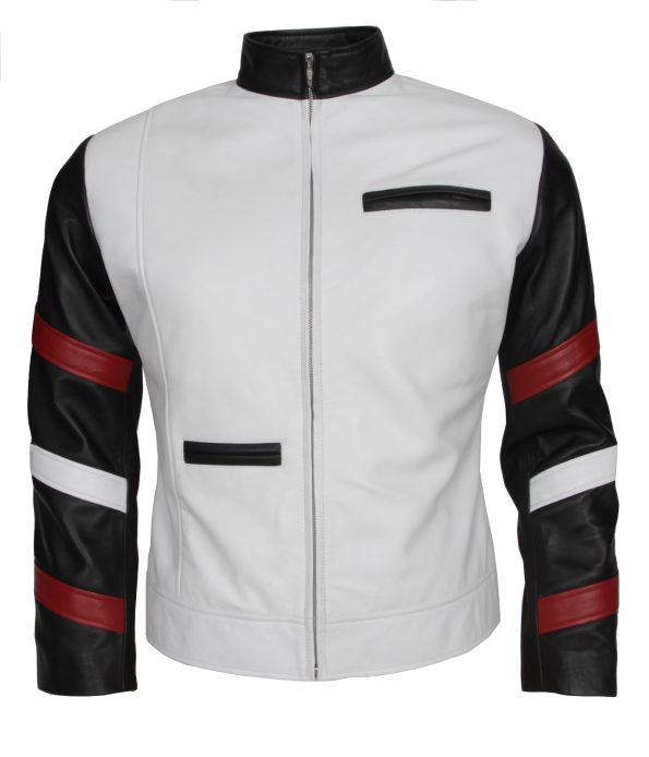 BruceLee Stripe White Leather Jacket