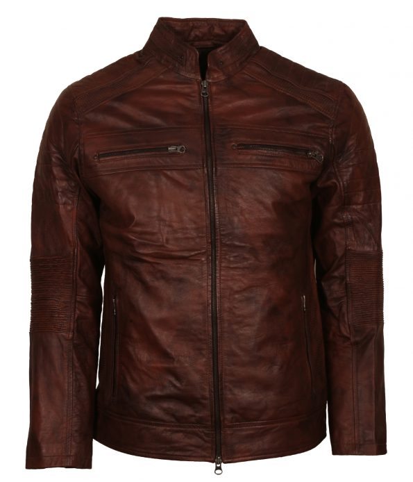 Cafe Racer Brown Waxed Biker Leather Jacket
