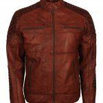 Cafe Racer Tan Waxed Biker Leather Jacket