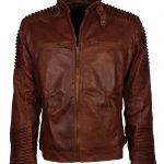 Classic Cafe Racer Quilted Brown Distressed Mens Motorcycle Leather Jacket biker jackets
