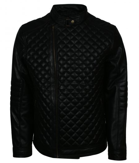 Classic Diamond Black Leather Jacket