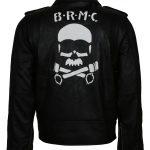 Classic Marlon Brando Johnny Strabler Skull the Wild One Black Leather Jacket biker motorcycle