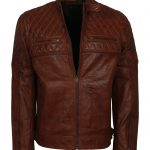 Classic Men Bomber Diamond Quilted Brown Leather Jacket