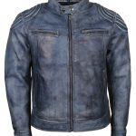 Classic Men Cafe Racer Blue Waxed Biker Bomber Leather Jacket