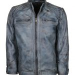 Classic Men Cafe Racer Blue Waxed Biker Leather Jacket