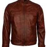 Classic Men Diamond Distressed Brown Biker Leather Jacket