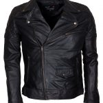Classic Men Marlon Brando Black Waxed Leather Jacket