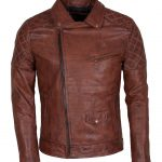 Classic Men Marlon Brando Brown Waxed Leather Jacket