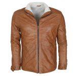 Classic Men Marlon Brando Furr Tan Leather Jacket