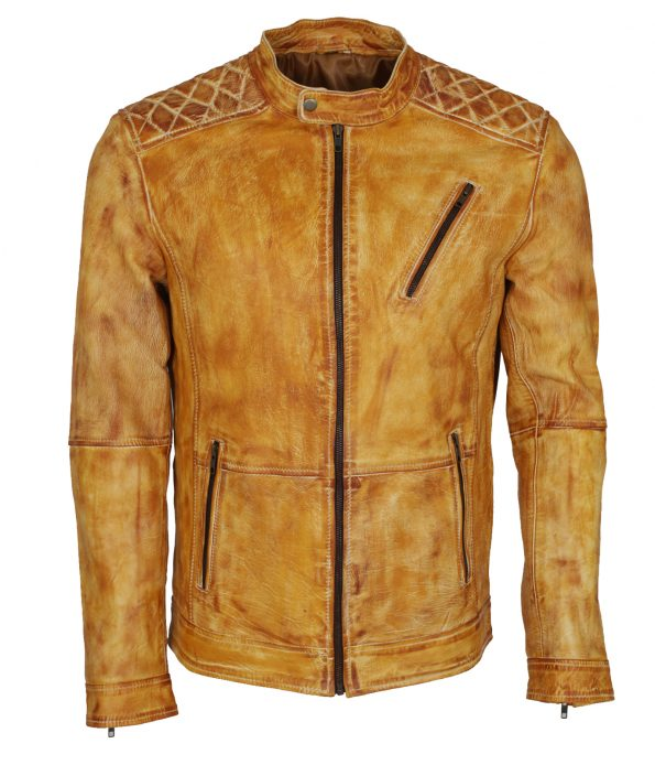 Classic Men Yellow Waxed Biker Leather Jacket