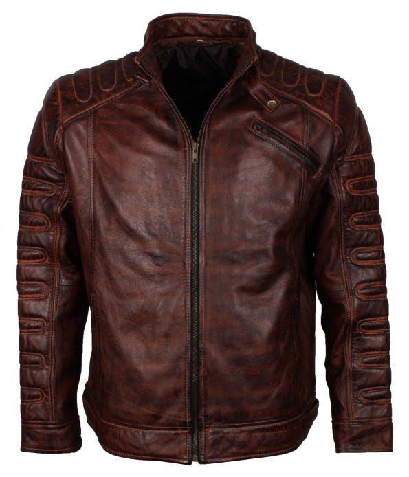Dark Brown Brando Quilted Leather Motorcyle Jacket