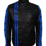 Driver San Francisco Blue Star Striped Biker Leather Jacket