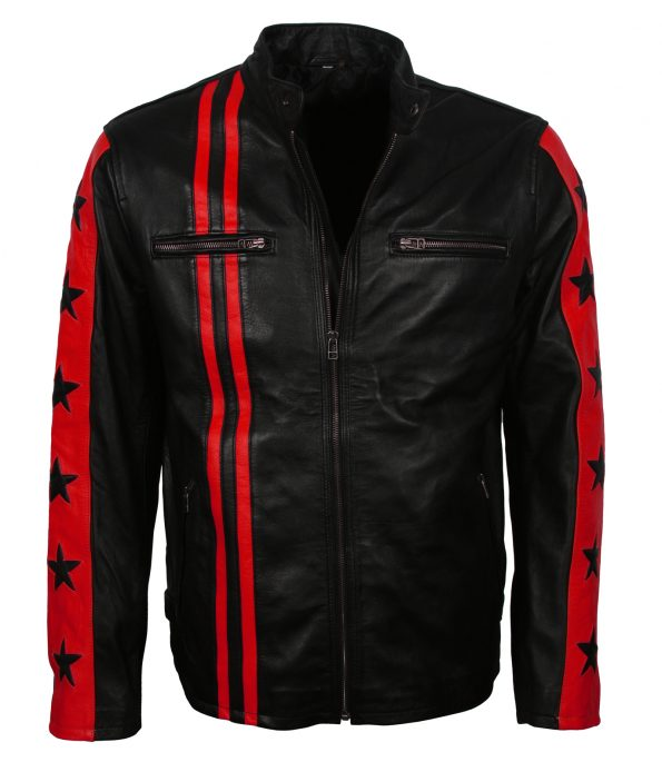 Driver San Fran. Red Striped Biker Jacket