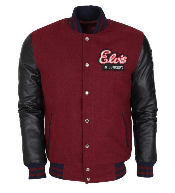 Elvis Presley In Concert Red Wool Black Leather Jacket Cosplay Costume
