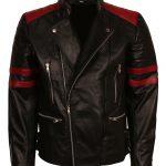 Fight Club Hybrid Myahem Red Striped Men Biker Black Motorcycle Leather Jacket Boda