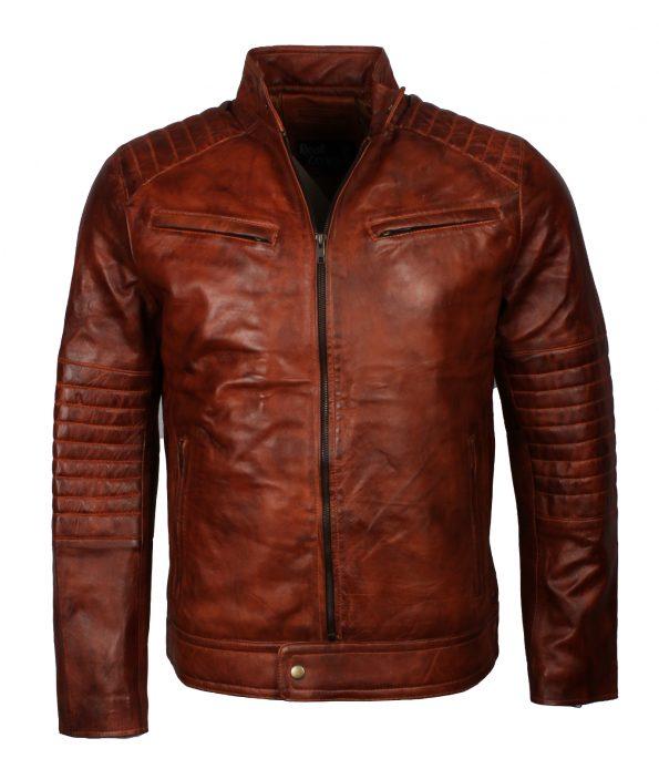 Men's Cafe Racer Biker Leather Jacket